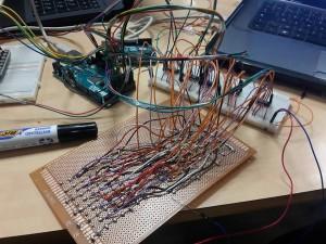 montage carte Arduino, matrice des boutons et breadboards
