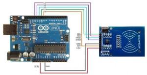 Branchement du lecteur RFID sur la carte Arduino Uno
